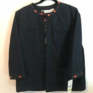 Brand New Alfred Dunner embroidered jean jacket